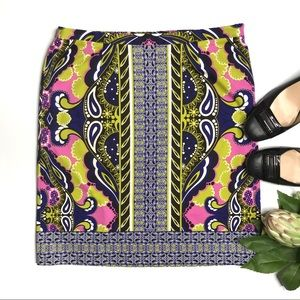 Etcetera Mixed Paisley Print Stretch Cotton Skirt